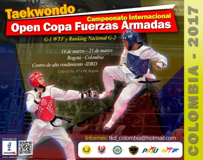 The Taekwondo Federation of Colombia extends an invitation to participate in the event V WTF TOURNAMENT G1 CUP FF-AA